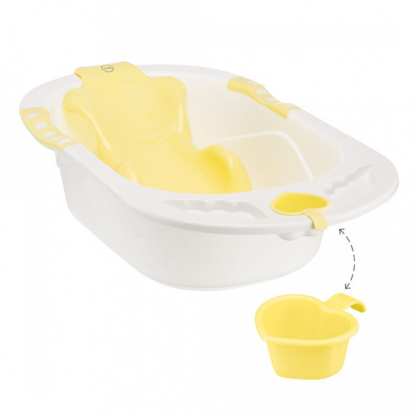 Ванна Happy Baby Bath Comfort V, с анатомической горкой, 40 л, Yellow - фото