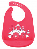 Нагрудник Happy Baby Bib Pocket силиконовый, Red